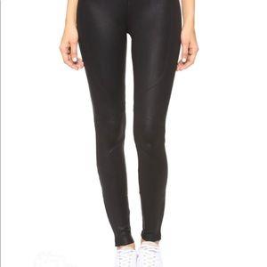 Black Coated Moto Hi Rise Legging Pants W/ Zippers